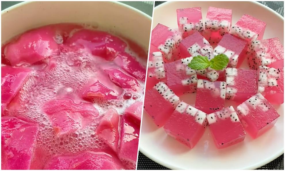 Làm rau câu màu hồng từ thanh long ruột trắng