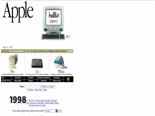 Trang chủ Apple.com thay đổi thế nào trong 20 năm qua