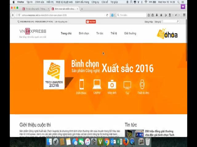 Hướng dẫn bình chọn vòng Chung kết Tech Awards 2016