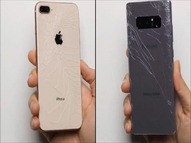 Galaxy Note 8 chiến thắng iPhone 8 trong thử nghiệm thả rơi