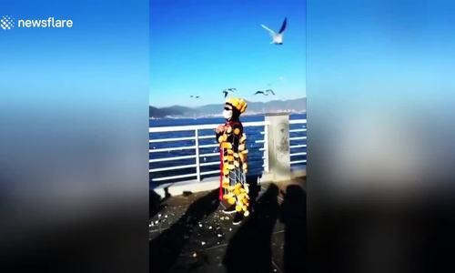 Gắn bánh mỳ vào người để thu hút chim