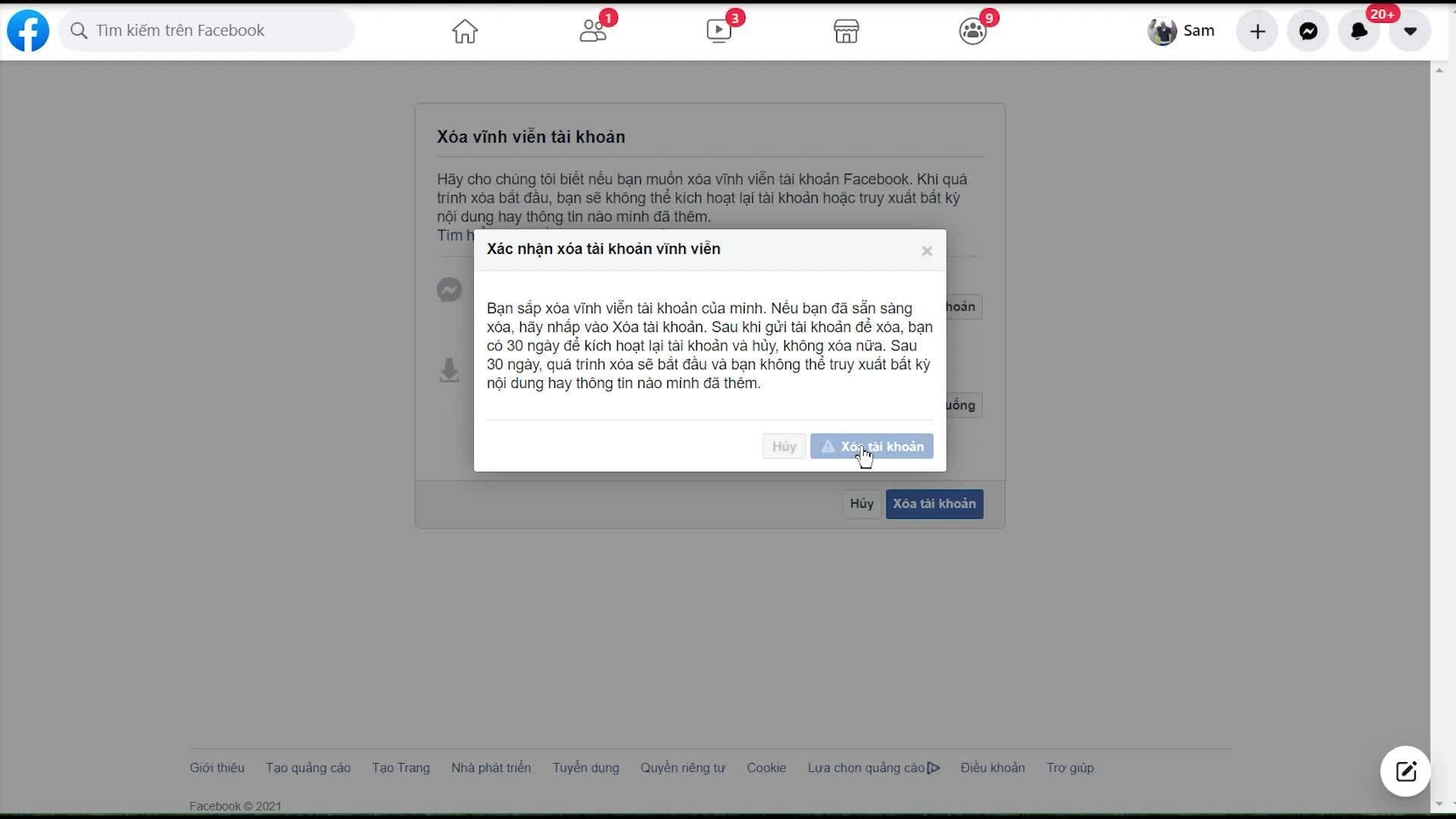 Cách xóa hoàn toàn tài khoản Facebook