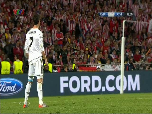 Bóng đập tay cầu thủ Atletico sau cú sút phạt của CR7