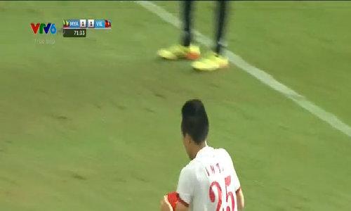 Huy Toàn gỡ hòa 1-1 cho U23 Việt Nam