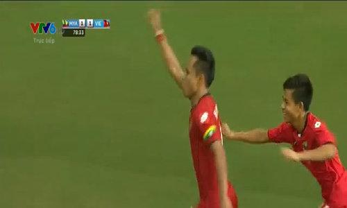 Tỷ số là 2-1 cho U23 Myanmar
