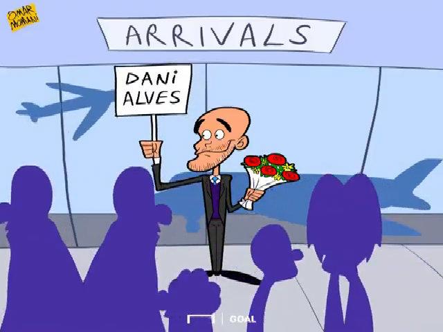 Guardiola ôm hoa đứng đợi, còn Alves uống rượu vang với Man City