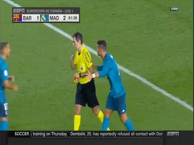 Ronaldo thẻ đỏ Siêu cup TBN 2017