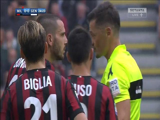 Bonucci nhận thẻ đỏ