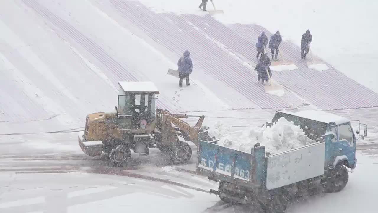 Ban tổ chức dùng máy xúc dọn tuyết