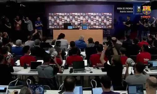 Iniesta khóc trong họp báo chia tay Barca