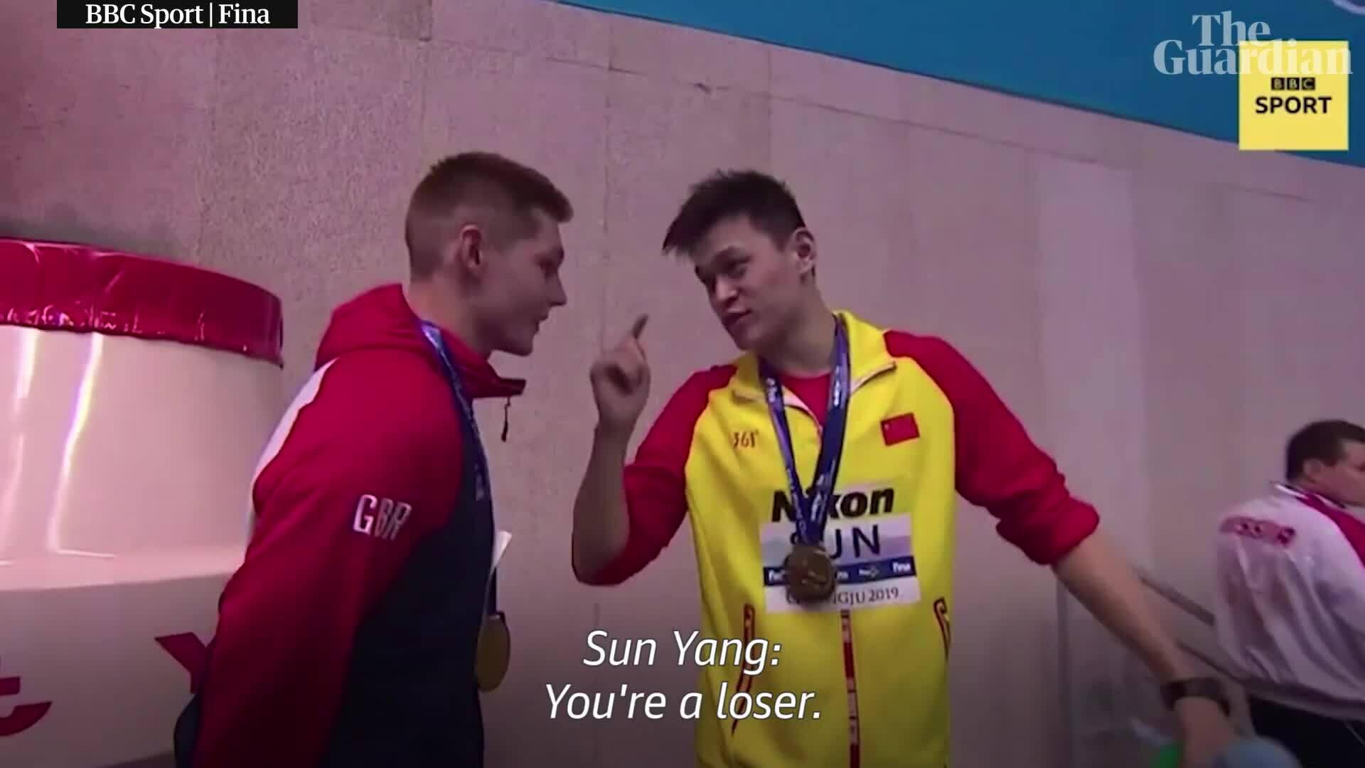 """Sun Yang hét vào mặt VĐV Anh """"cậu là kẻ thất bại"""""""