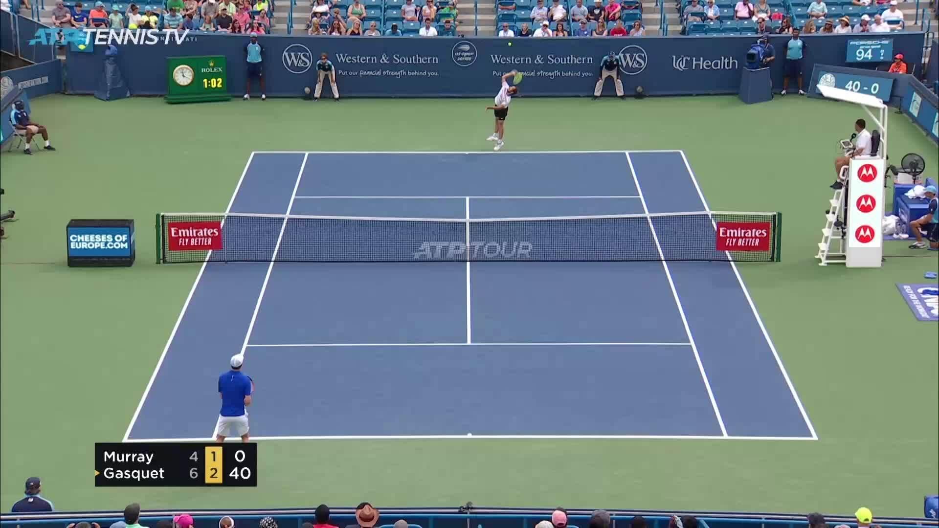 Andy Murray 0-2 Richard Gasquet