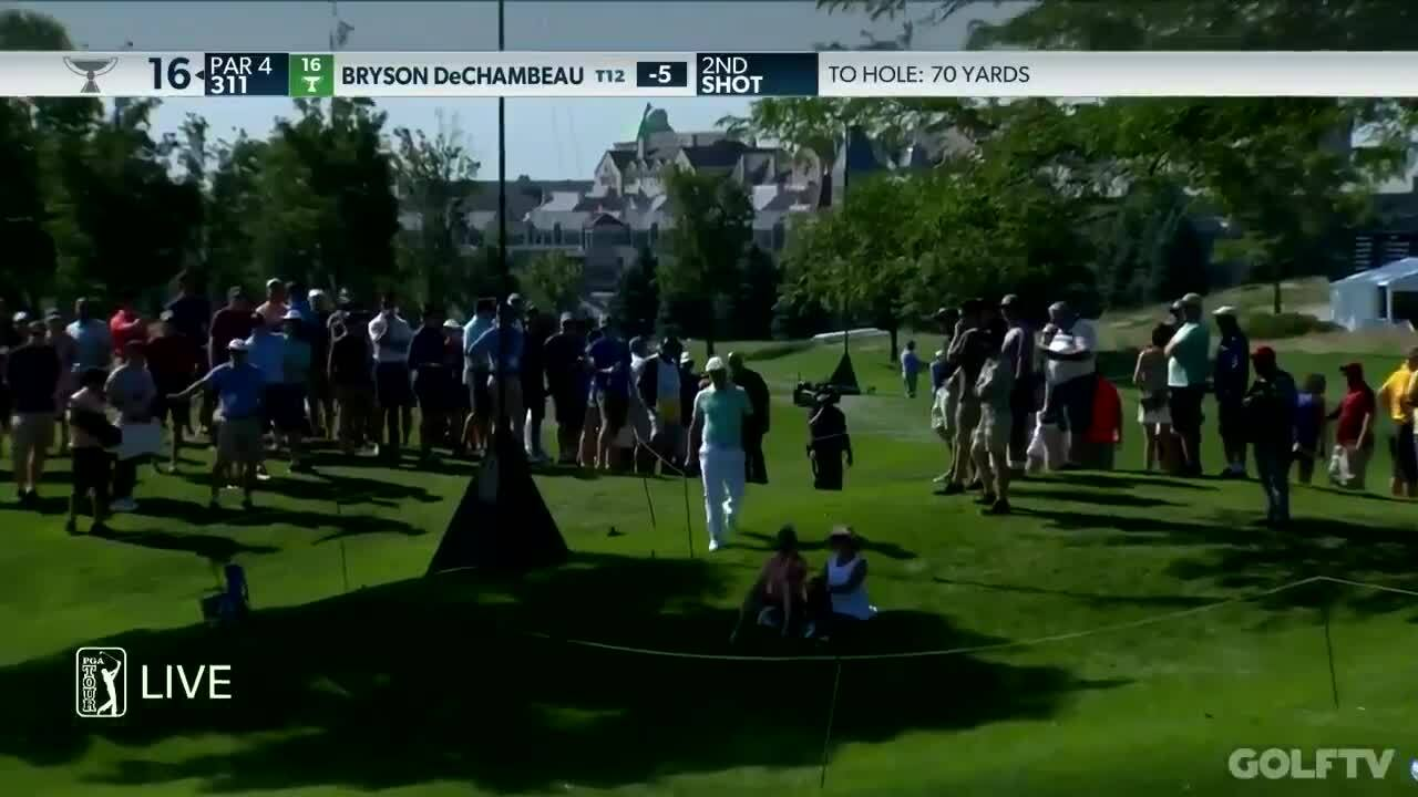 DeChambeau took more than three minutes to hit the green 70 yards away
