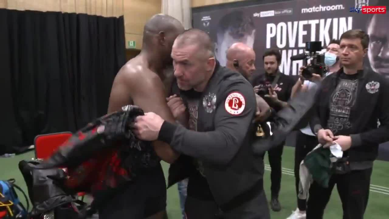 Whyte swapped pants with Povetkin after the match