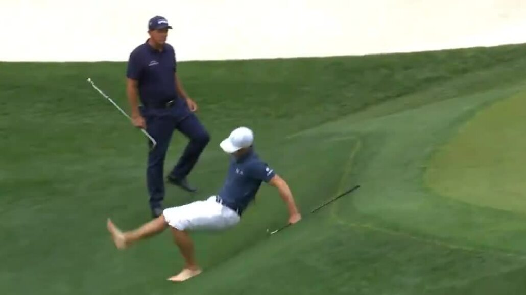 Billy Horschel slipped while saving the ball on the green