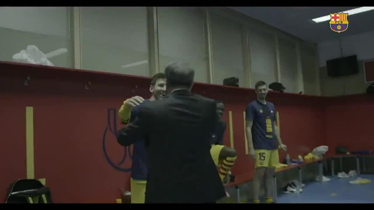 Laporta chúc mừng Messi