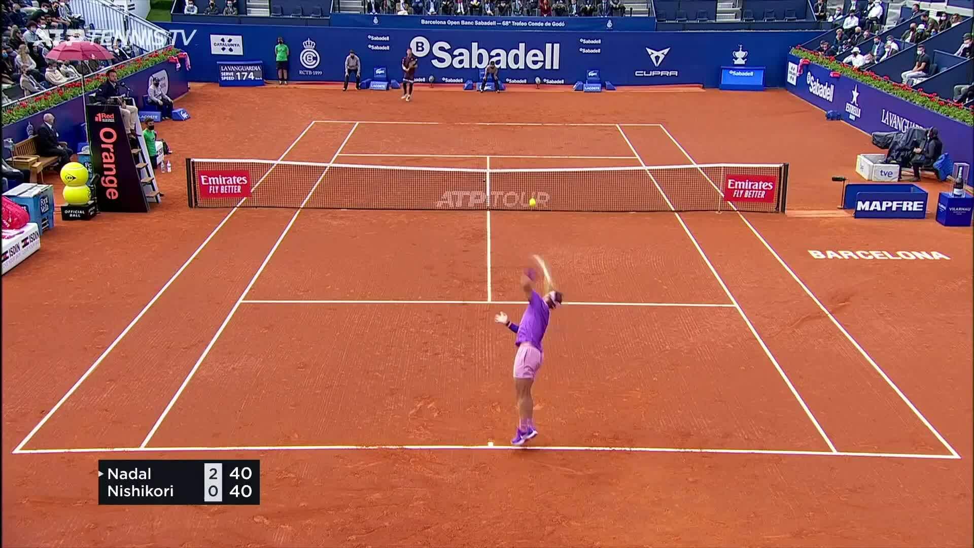 Nadal 2-1 Kei Nishikori