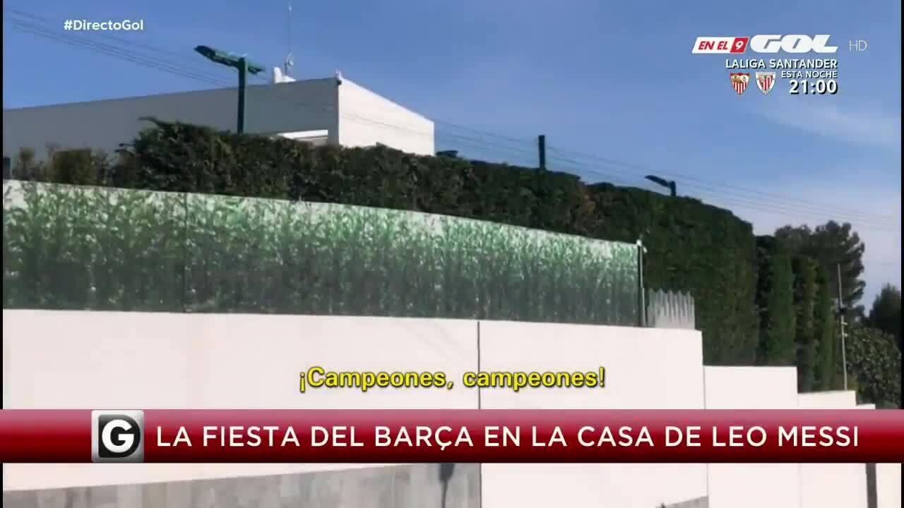 Pemain Barca itu meneriakkan 'juara' di sebuah pesta di rumah Messi