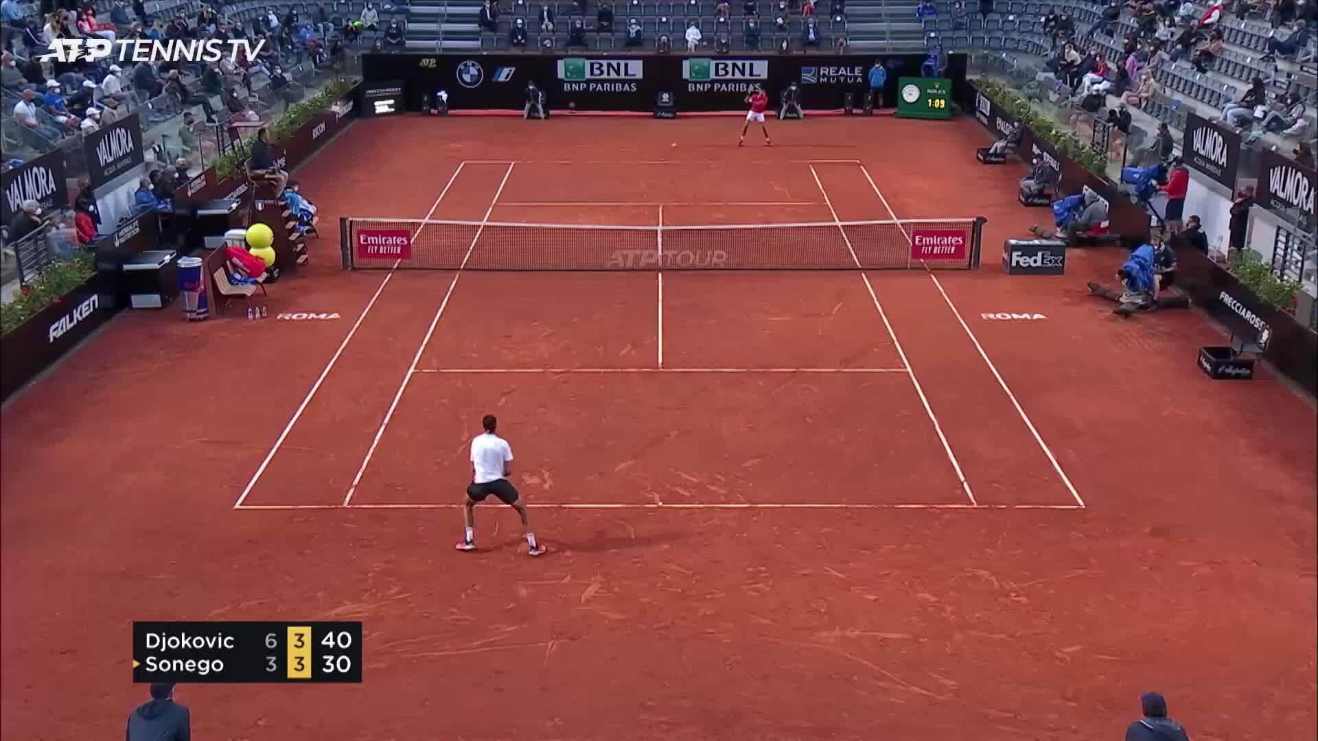Djokovic 2-1 Sonego