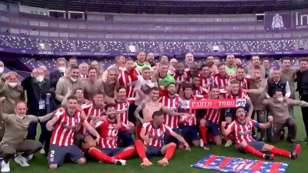 Atletico merayakan kejuaraan tanpa Piala