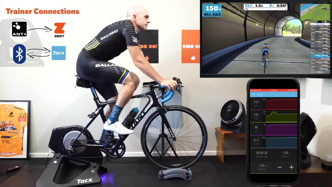 Virtual reality cycling with smart trainer