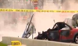 Hiện trường trực thăng lao xuống phố, bốc cháy ngùn ngụt