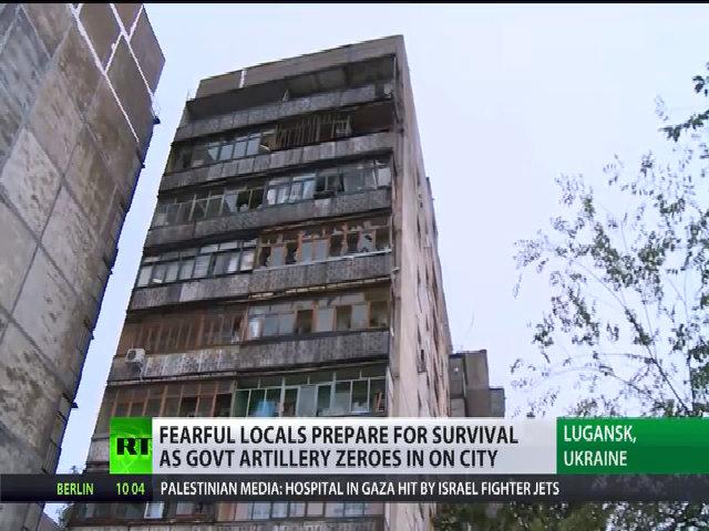 Cảnh đổ nát tại thành phố Luhansk, miền đông Ukraine