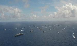 42 tàu dàn hàng trong tập trận hải quân lớn nhất thế giới