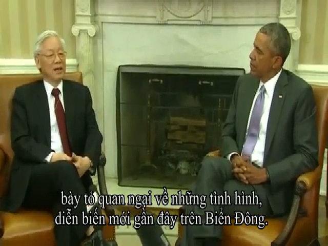 Tổng bí thư trao đổi với tổng thống Mỹ về Biển Đông