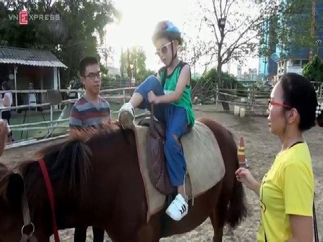 Trẻ tự kỷ, khuyết tật Hà Nội cưỡi ngựa điều trị bệnh