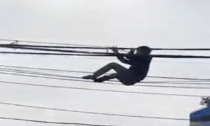 'Người nhện' đi trên dây điện giữa phố Hà Nội