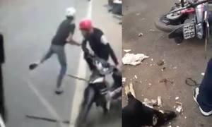Bị truy đuổi, 2 cẩu tặc dùng dao phóng lợn cướp xe máy