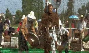 Người đàn ông biến mình thành tổ ong di động