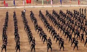 Cảnh sát cơ động duyệt binh, múa võ