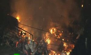 Lửa cháy dữ dội do động đất ở Nhật