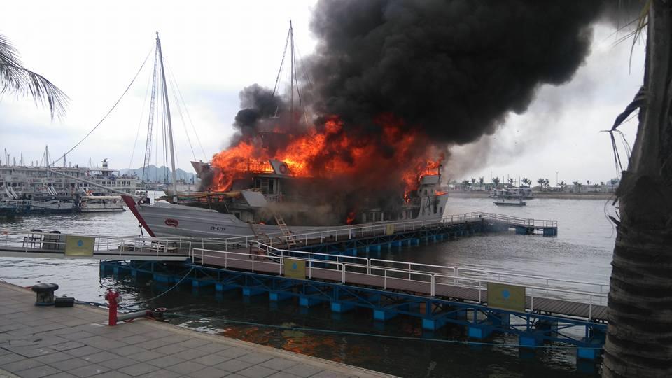 Cháy du thuyền Tuần Châu nhiều người lao xuống biển