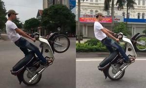 Thanh niên  bốc đầu xe máy chạy hàng cây số, không mũ bảo hiểm
