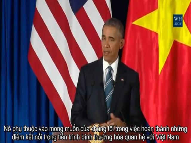 Obama: Quyết định dỡ bỏ lệnh cấm vũ khí không phụ thuộc vào Trung Quốc