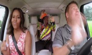 Bà Obama hát, nhảy cuồng nhiệt trên xe hơi