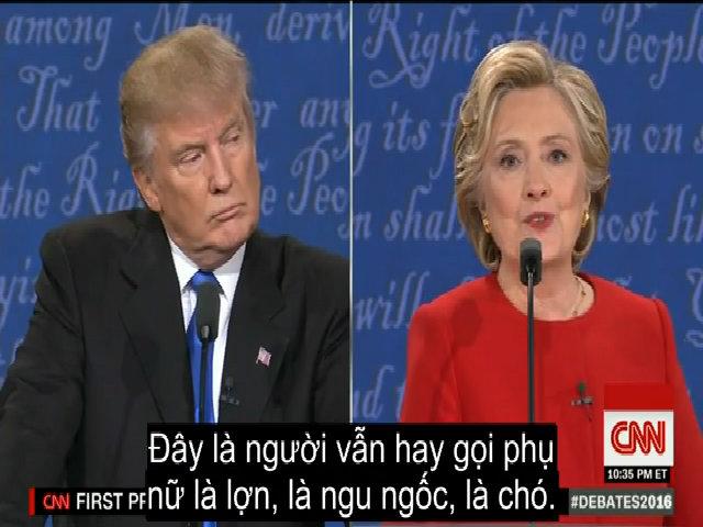 Clinton chỉ trích Trump gọi phụ nữ là lợn
