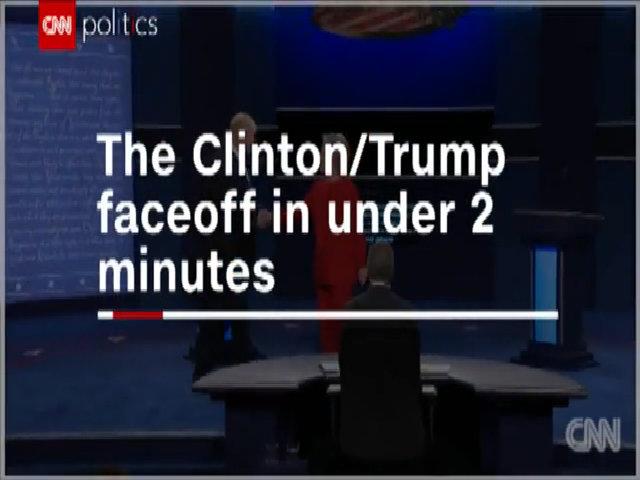 Toàn cảnh cuộc tranh luận giữa Trump và Clinton trong hai phút