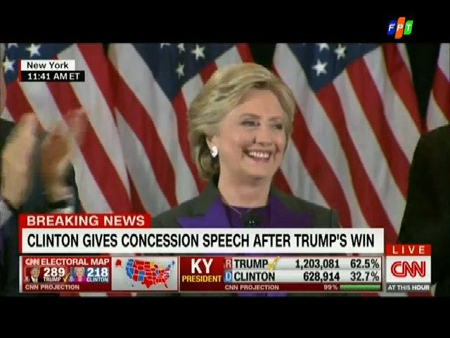 Hillary Clinton: 'Hy vọng Trump sẽ là tổng thống của mọi người dân Mỹ'