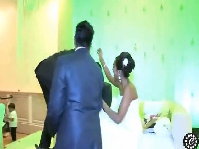 Làm đổ bánh cưới vì mải nhìn cô dâu