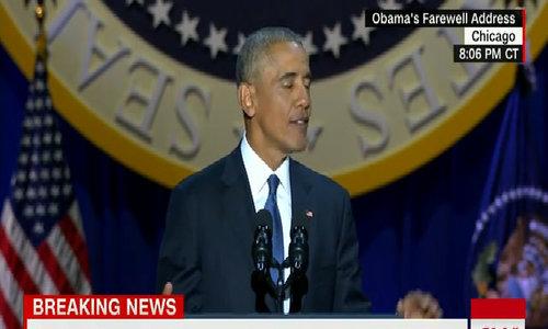 Obama lau nước mắt khi cảm ơn vợ trong bài phát biểu chia tay - Video embed - VnExpress