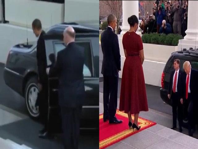 Obama - Trump khác biệt trong cách bước xuống xe cùng vợ