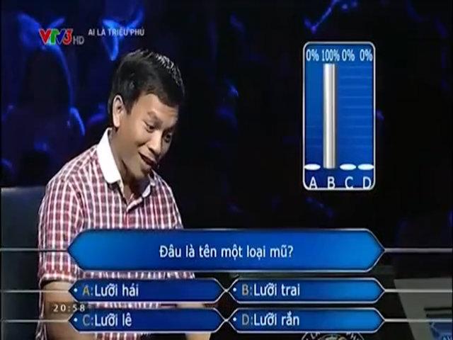 Người chơi Ai là triệu phú dùng quyền trợ giúp ngay từ câu hỏi đầu tiên