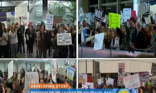 Người Mỹ biểu tình phản đối lệnh hạn chế nhập cư của Trump