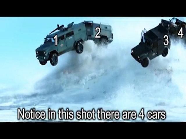 Đáp án cảnh đoàn xe truy đuổi tại hồ băng