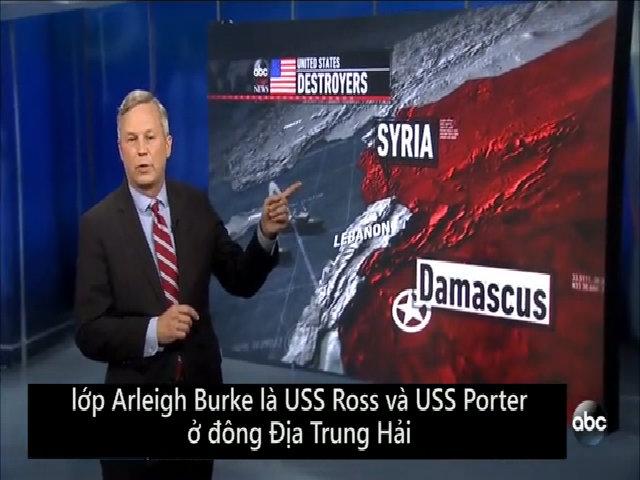 Hành trình phỏng đoán của tên lửa Tomahawk nhằm vào căn cứ Syria