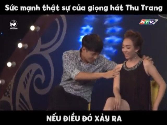 Giọng hát thảm họa của Thu Trang khiến Ngô Kiến Huy té ngửa